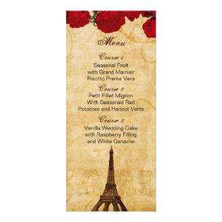red vintage eiffel tower Paris wedding menu cards Rack Card