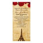 red vintage eiffel tower Paris wedding program Personalized Rack Card