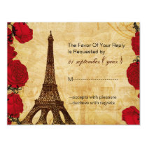red vintage eiffel tower Paris wedding rsvp Card
