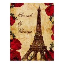 red vintage eiffel tower Paris wedding rsvp Postcard