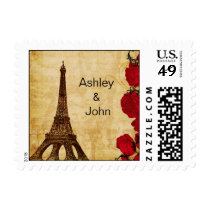 red vintage eiffel tower Paris wedding stamps