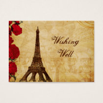 red vintage eiffel tower Paris wishing well card