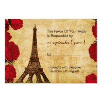 red vintage eiffel tower wedding rsvp 3.5 x 5 card