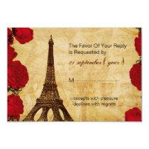 red vintage eiffel tower wedding rsvp 3.5 x 5 card