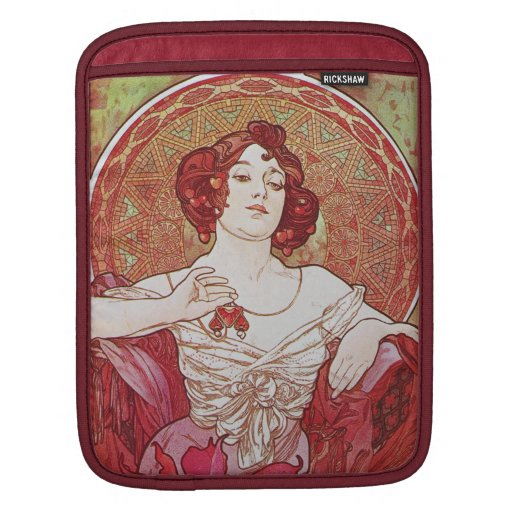 Red Vintage Elegant Art Nouveau Mucha Ruby Lady iPad Sleeve
