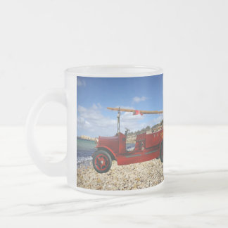 Red Vintage Fire Engine, Frosted Glass Coffee Mug