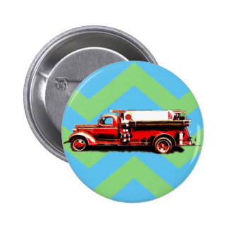 Red Vintage Fire Truck Pinback Button