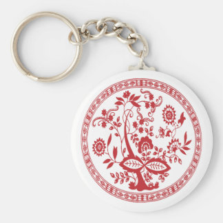 Red vintage floral flowers decorative pattern keychain