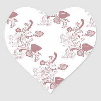 Red Vintage Floral Pattern Design Heart Sticker