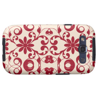 Red vintage floral shabby and chic design samsung galaxy SIII covers
