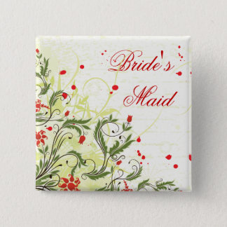 Red Vintage Flowers Bridesmaid pin back button