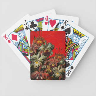 Red Vintage Flowers Oil Brush Painting Bicycle Playing Cards