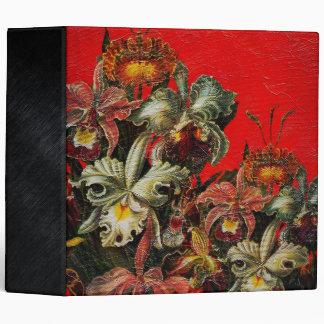 Red Vintage Flowers Oil Brush Painting Binder