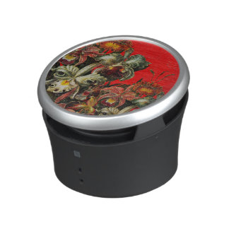 Red Vintage Flowers Oil Brush Painting Bluetooth Speaker