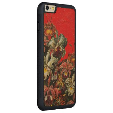Red Vintage Flowers Oil Brush Painting Carved® Maple iPhone 6 Plus Bumper Case