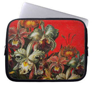 Red Vintage Flowers Oil Brush Painting Computer Sleeve