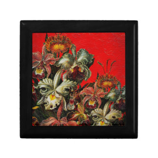 Red Vintage Flowers Oil Brush Painting Gift Box