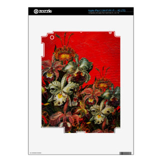 Red Vintage Flowers Oil Brush Painting iPad 3 Decals