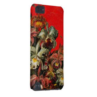 Red Vintage Flowers Oil Brush Painting iPod Touch (5th Generation) Covers
