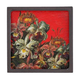 Red Vintage Flowers Oil Brush Painting Jewelry Box