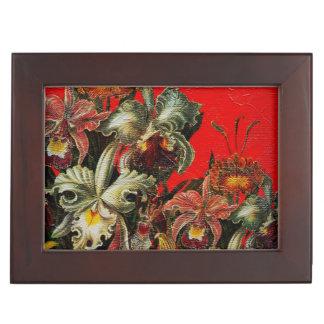 Red Vintage Flowers Oil Brush Painting Keepsake Box