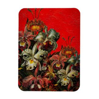Red Vintage Flowers Oil Brush Painting Magnet