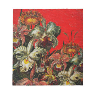 Red Vintage Flowers Oil Brush Painting Notepad