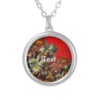 Red Vintage Flowers Oil Brush Painting Round Pendant Necklace