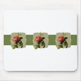 Red Vintage Flowers Wide Mouse Pad