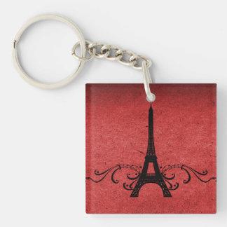 Red Vintage French Flourish Acrylic Keychain
