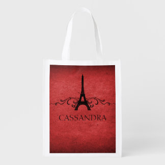 Red Vintage French Flourish Grocery Bag