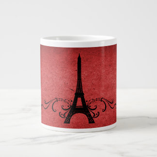 Red Vintage French Flourish Large Coffee Mug