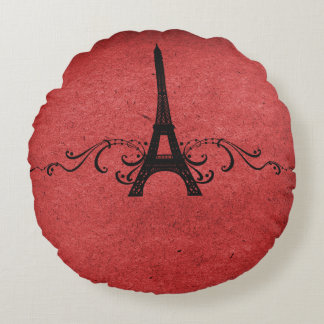 Red Vintage French Flourish Round Pillow