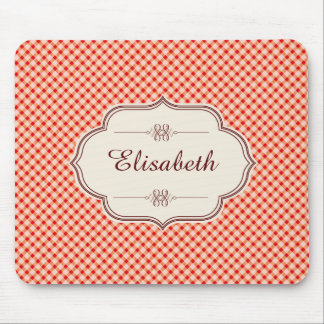 Red vintage gingham calligraphy name mouse pad