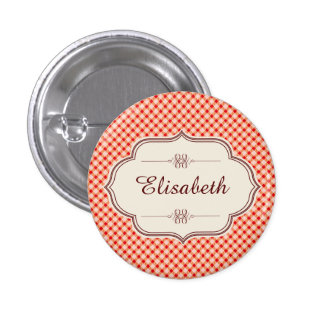 Red vintage gingham calligraphy name pinback button