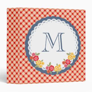 Red vintage gingham flower monogram 3 ring binder