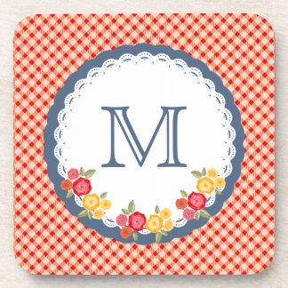 Red vintage gingham flower monogram coaster