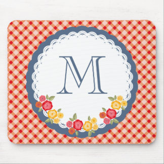 Red vintage gingham flower monogram mouse pad