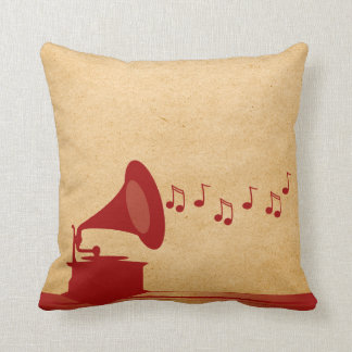 Red Vintage Gramophone Pillow