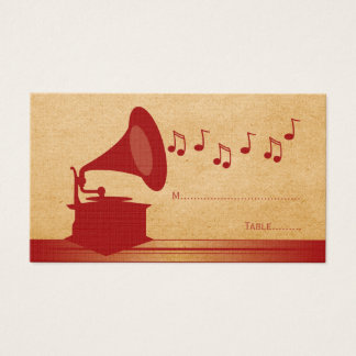 Red Vintage Gramophone Place Card