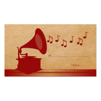 Red Vintage Gramophone Place Card Double-Sided Standard Business Cards (Pack Of 100)