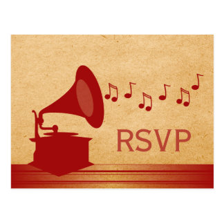 Red Vintage Gramophone RSVP Postcard