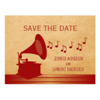Red Vintage Gramophone Save the Date Postcard