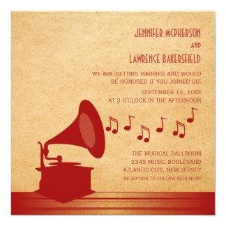 "Red Vintage Gramophone Wedding Invite 5.25"" Square Invitation Card"
