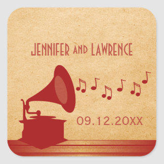Red Vintage Gramophone Wedding Stickers