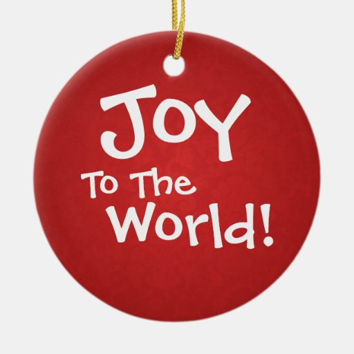 Red Vintage Holiday Joy To The World Ornament