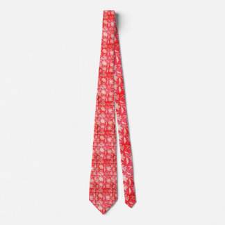 Red Vintage Indian Silk Pattern w/gold Leaves Tie