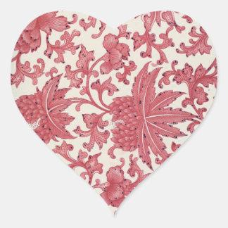 Red Vintage Leaves Heart Sticker