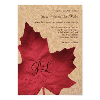 Red Vintage Monogrammed Wedding Invitation