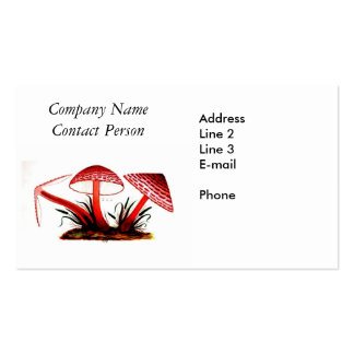 Red Vintage Mushrooms Business Card Business Cards
